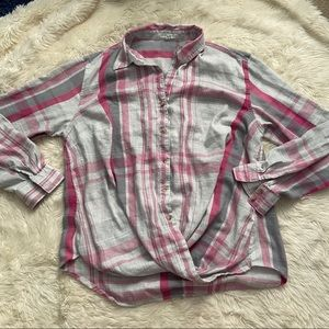 Maurices plaid twist front button up top 0x